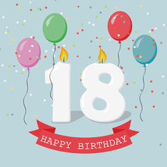 Eighteen years anniversary greeting card with candles, confetti and balloons.