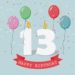 Thirteen years anniversary greeting card with candles, confetti and balloons.