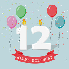 Twelve years anniversary greeting card with candles, confetti and balloons.