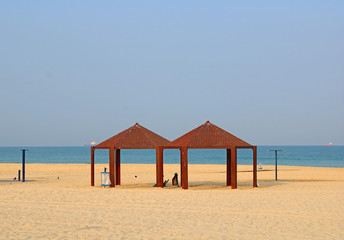 View on public beach on Mediterranean Sea in the morning in Ashkelon, Israel
