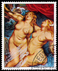 Stamp printed in Paraguay shows painting by Rubens