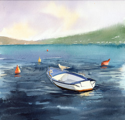 Summer. South. The evening sunset. Blue mountain lake. Seagull on a white boat. The boat amongst the buoys