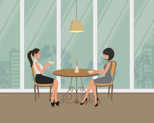 Two girls in the cafe. There are young women, sitting at the table and drinking coffee on a window background in the picture. There is also a vase with willow branches on the table. Vector image