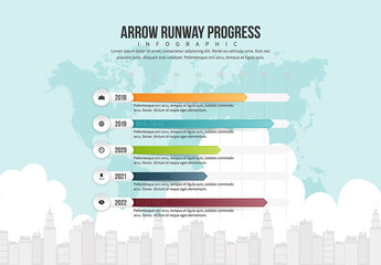 Arrow Bar Graph Infographic with Cityscape Background 1
