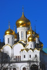 Old orthodox Annunciation church of Moscow Kremlin. Color photo.