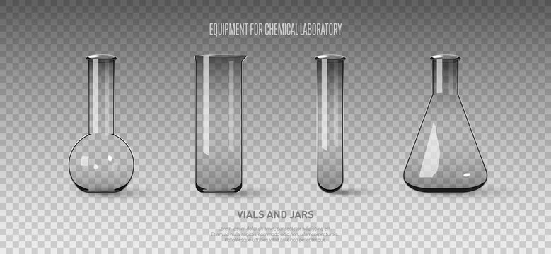 A set of flasks and test tubes isolated on a transparent background. Equipment for chemical laboratory. Transparent glass test tubes Vector illustration