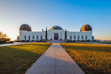 Landscape view of Griffith observatory in Los Angeles at sunrise