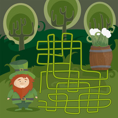 Maze game for kids. Help red Leprechaun to find his way to the green beer.