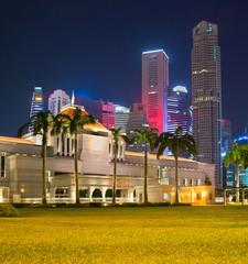 Fototapete - Singapore Parliament building at night