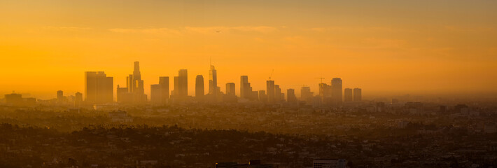 Panoramic view of Los Angeles skyline at sunrise