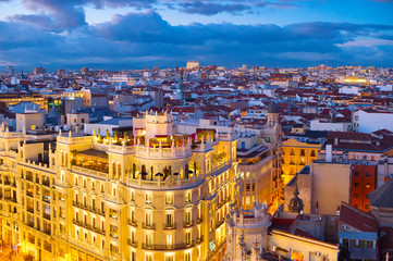 Fototapete - Madrid skyline aerial, Spain