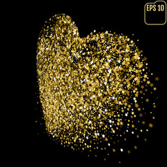 Shimmering Stars Confetti Heart. Greeting Card, Wedding, Invitation Template Background with Free Space. Luxury, Glamour Design Pattern with Gold Stars.