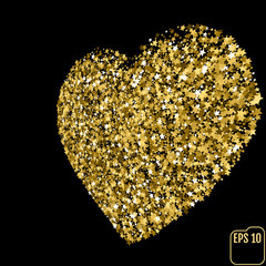 Star glitter gold sequin in heart shape isolated on black background - love and valentine concept
