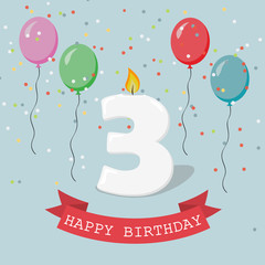Happy Birthday anniversary greeting card with number Three, balloons, ribbons and confetti