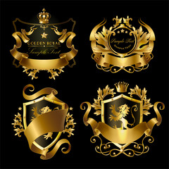 Vector golden royal stickers with crowns, shields, ribbons, lions, stars. Templates of gold labels for networking companies, web design, internet business. Elegant monogram for advertising, promotion