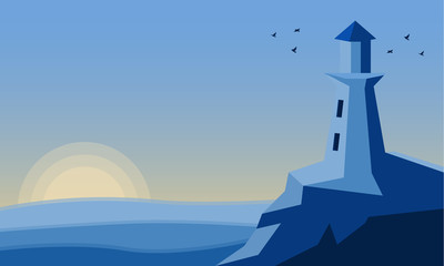 Flat vector illustration lighthouse in the light of the sunset with seagulls