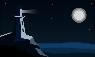 Flat vector illustration the lighthouse shines at night