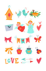 Bright vector kit with decorative love objects: angel, birdhouse, birds, ladybug, heart, branches, cupid, nest, flashlight, garland, love, ribbon, envelope. Isolated elements in style of the 1950s.