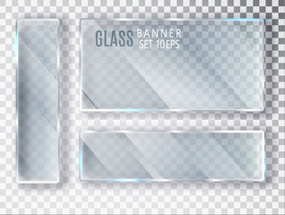 Glass transparent banners set. Vector glass plates with a place for inscriptions isolated on transparent background. Flat glass. Realistic 3D design. Vector transparent object 10 eps