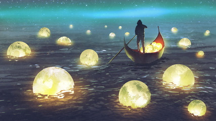 night scenery of a man rowing a boat among many glowing moons floating on the sea, digital art style, illustration painting Wall mural