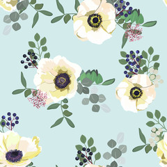 Seamless pattern with white anemone flowers, berries and greenery on blue background. Winter floral design for wedding invitation, save the date card, banner, poster. Vintage vector illustration.