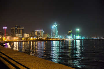 Night view of the city of Baku - the capital of the Republic of Azerbaijan