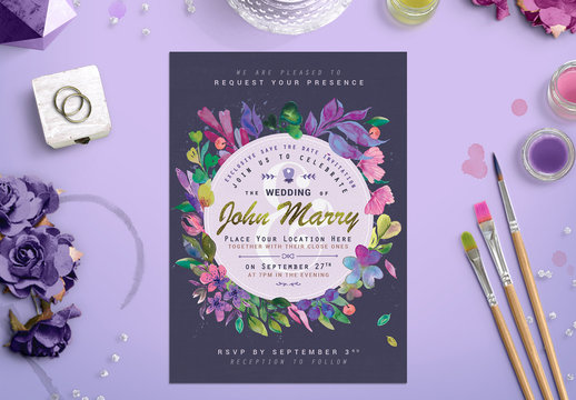 Bright Floral Wreath Wedding Invitation Layout 1