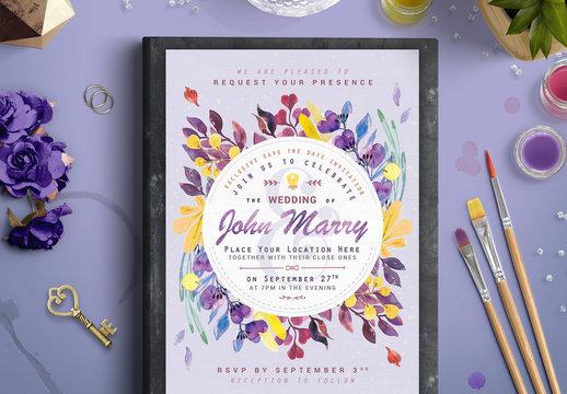 Purple and Yellow Floral Wreath Wedding Invitation 1