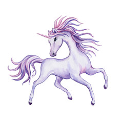 Running unicorn with a wreath of flowers. White Horse. Watercolor. Illustration. Template. Clip-art