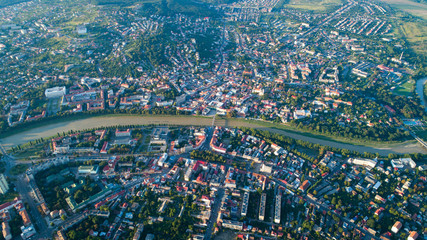 Flying over Uzhgorod city Ukraine