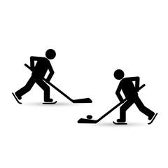 Icon hockey player black on white background. Vector illustration