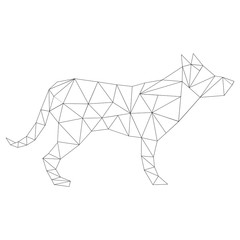 Figure of a dog from triangles in the form of a silhouette.