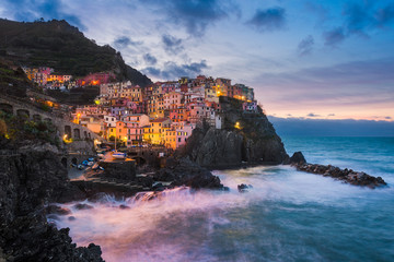 Manarola at night, Cinque Terre, Italy