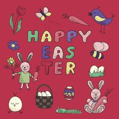 Happy Easter traditional festive symbol set.