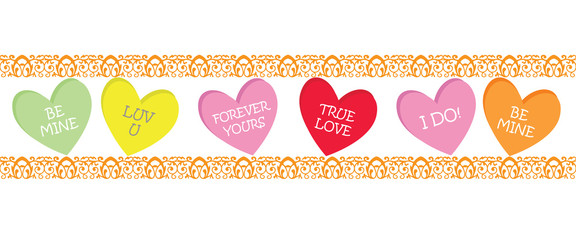 Candy Heart Border, Valentines Day Heart