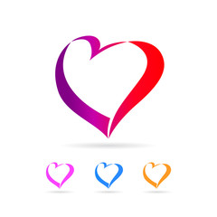 Colored heart love icon. Vector design colorful hearts elements for Valentine's day