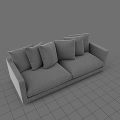 Sofa with six pillows