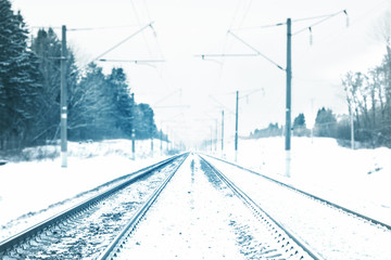 Railway covered with snow.
