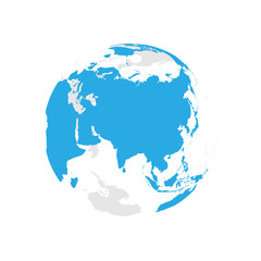 Earth globe with blue world map. Focused on Asia. Flat vector illustration.