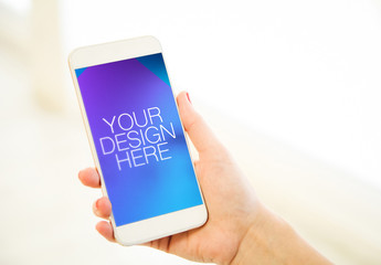 Smartphone Mockup with Hand on White Background