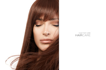 Beautiful model girl with gorgeous long healthy hair. Hair salon concept