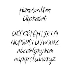 Handwritten Brush Letters. ABC. Modern Calligraphy. Hand Lettering Vector Alphabet in horror style.