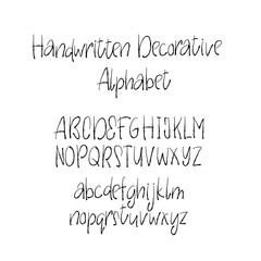 Decorative alphabet in horror style.. Handwritten brush letters. Uppercase, lowercase. Hand drawn Vector ABC for your Designs: wallpaper, pattern, poster, postcard, logo, wedding invitation.