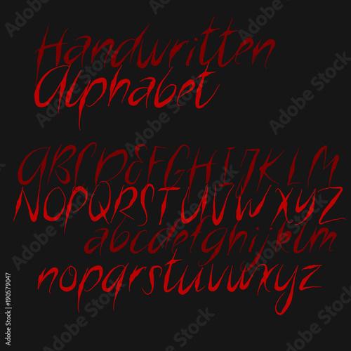 Decorative alphabet in horror style   Handwritten brush