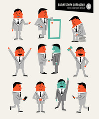 Businessman character set in retro cartoon style. For web pages, infographics, presentations.