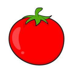 cartoon simple tomato isolated on white background