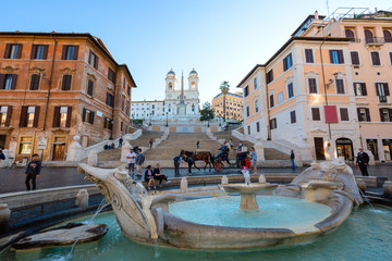 Photo sur Aluminium Rome Spanish steps with fountain