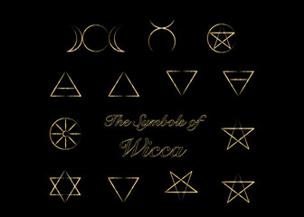 Golden Set of Witches runes, wiccan divination symbols. Ancient occult symbols, isolated on black. Vector illustration.
