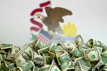 Illinois flag, USA with US Dollars