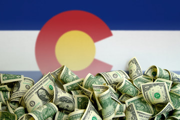 Colorado flag, USA with US Dollars